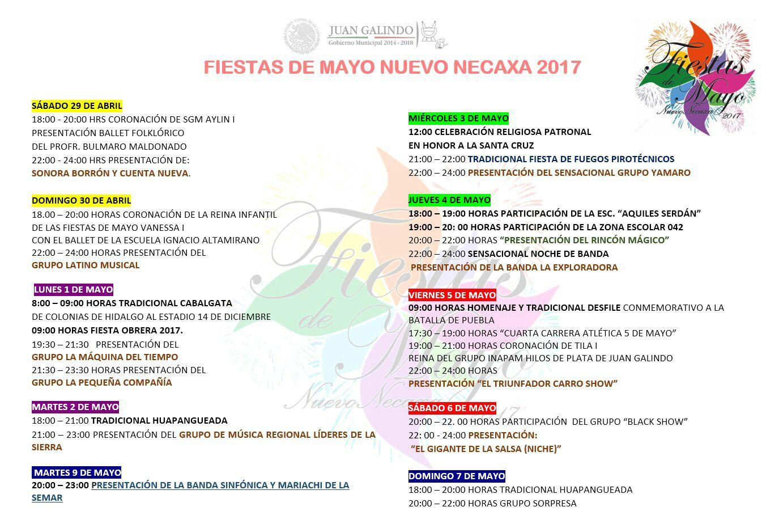 Programa general de la Feria en Nuevo Necaxa 2017